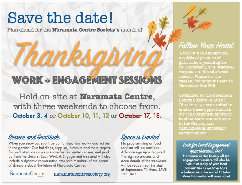 From the naramata centre society kootenay presbytery the board of directors are pleased to invite supporters and members of naramata centre society into a month of giving thanks for naramata centre sciox Images